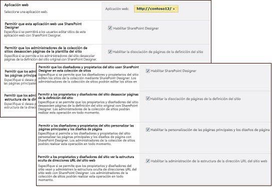 Páginas de configuración de SharePoint Designer