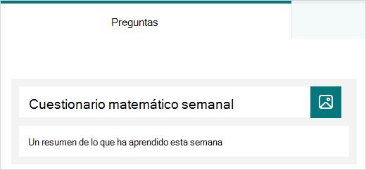 Ejemplo de título y descripción de un cuestionario en Microsoft Forms