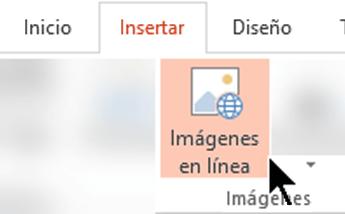 En la cinta de la barra de herramientas, seleccione Insertar y, a continuación, seleccione Imágenes en línea