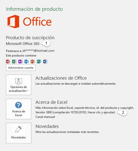 Página de cuenta que incluye información de Usuario y de Producto