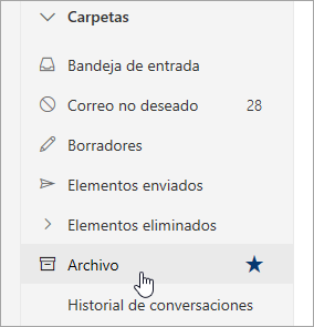Captura de pantalla de la carpeta Archivo