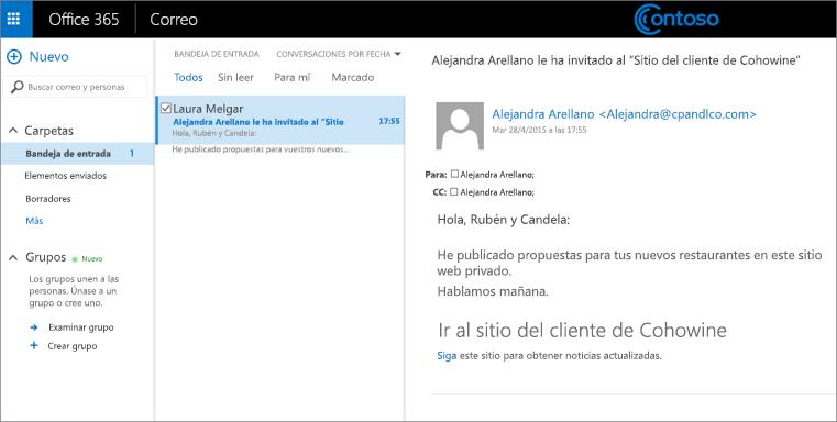 Un ejemplo de correo electrónico que invita a los clientes a acceder a un subsitio de cliente.
