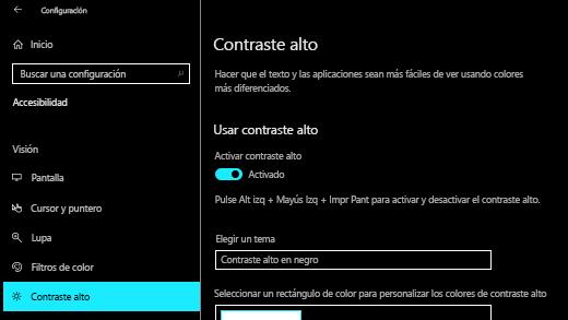 Activar el contraste alto en la aplicación configuración de Windows 10.