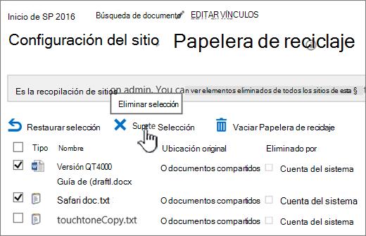 Botón de eliminar página de reciclaje de SharePoint 2016 resaltado