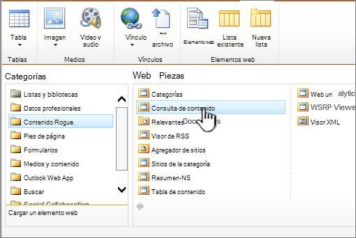 Agregar un elemento Web de consulta de contenido