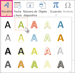Estilos de WordArt