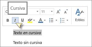 Seleccione texto y haga clic en Cursiva