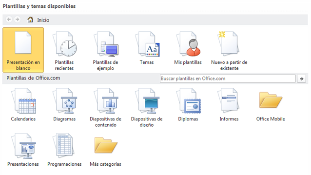 Selección de plantillas de escritorio o en línea