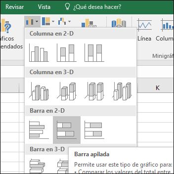 Gráficos de barras apiladas en Excel 2016