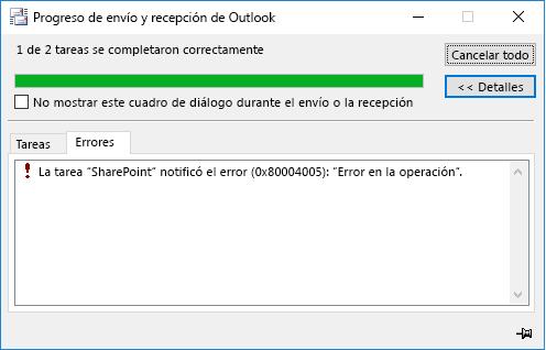 Error al conectarse a una biblioteca de documentos de SharePoint
