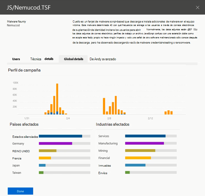 Captura de pantalla de detalle Global de amenazas más importantes en la información sobre amenazas