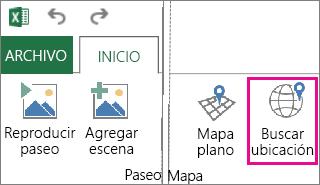 Botón Buscar ubicación en la pestaña Inicio de Power Map