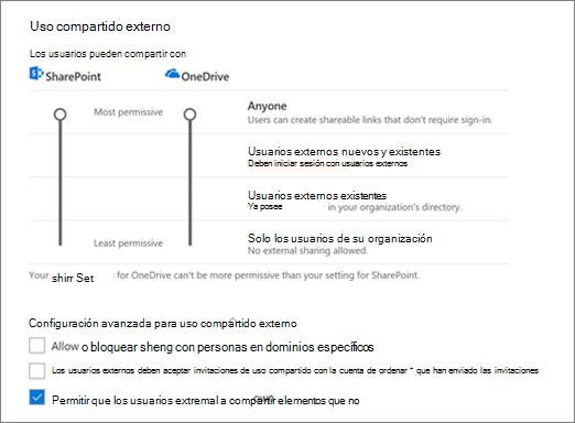 Configuración en la página Compartir del centro de administración de OneDrive de uso compartido externo