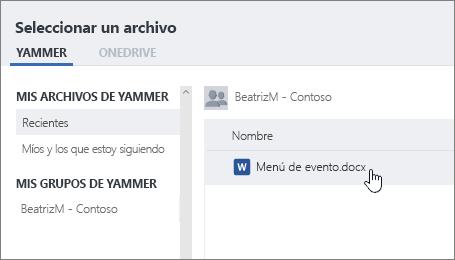 """Captura de pantalla en la que se muestra el cuadro de diálogo del selector de archivos de Yammer, con la opción """"Seleccionar un archivo de Yammer"""" seleccionada."""