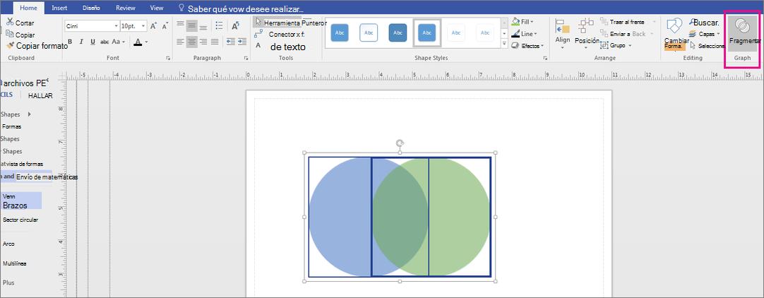 Haga clic en fragmento en el área de gráfico.