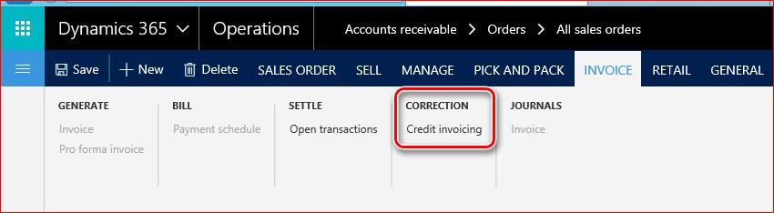 Esta imagen muestra cómo buscar la funcionalidad de factura rectificativa.