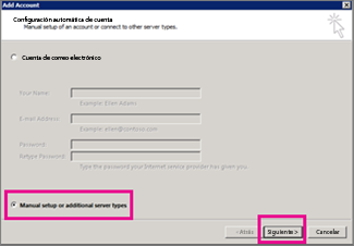 Use la configuración manual en Outlook 2013