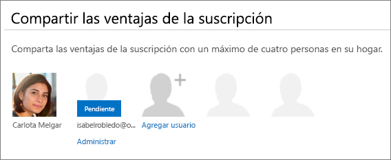 """Captura de pantalla de la sección """"Compartir las ventajas de la suscripción"""" de la página Compartir Office 365, que muestra como Pendiente un usuario compartido."""