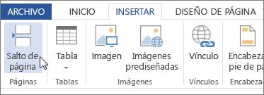 Botón Salto de página en Word Online