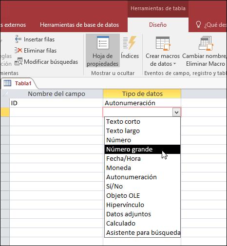 Captura de pantalla de la lista de tipos de datos en una tabla de Access. Número grande está seleccionado.