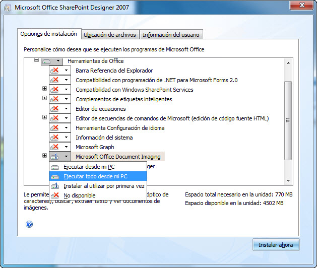 Captura de pantalla que muestra la ubicación de MODI durante una instalación de SharePoint Designer 2007