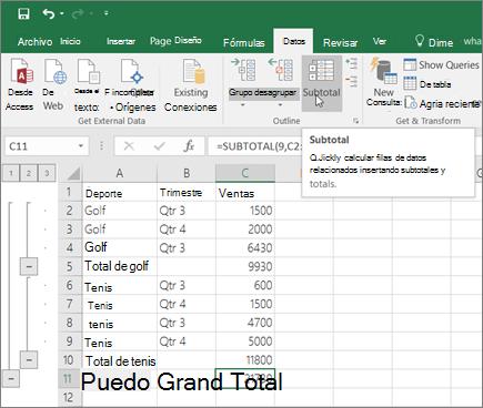 Haga clic en subtotales en la pestaña datos para agregar una fila de subtotal en los datos de Excel.