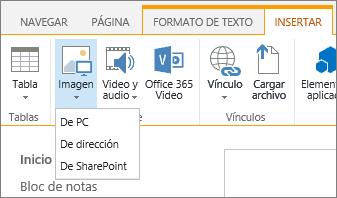 Captura de pantalla de la cinta de SharePoint Online. Seleccione la pestaña Insertar y después Imagen; elija si un archivo se carga desde el equipo, una dirección web o una ubicación de SharePoint.