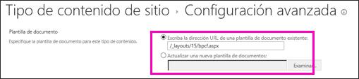 Agregar cuadros de texto de plantilla en la página Configuración avanzada en un tipo de contenido