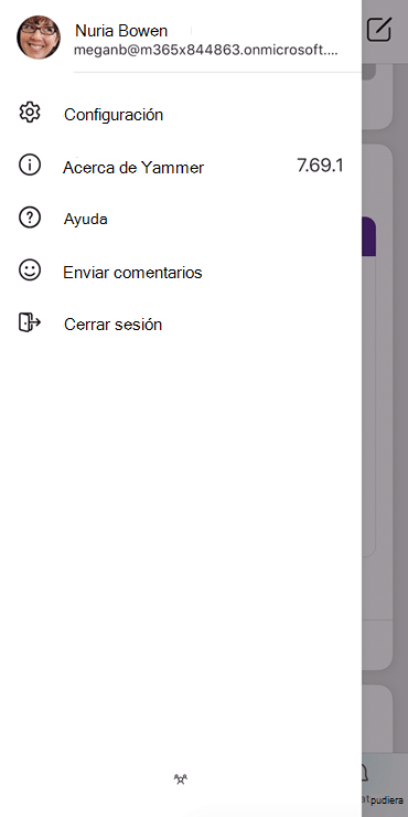 Captura de pantalla que muestra la configuración de un perfil en la aplicación móvil de Yammer