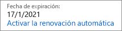 Este es el aspecto que tiene una suscripción que va a expirar cuando la renovación automática está desactivada.