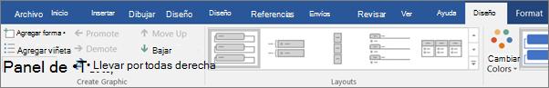 Haga clic en diseño y, a continuación, haga clic en panel de texto