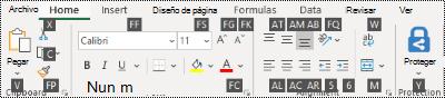 Sugerencias de teclas de la cinta de Excel