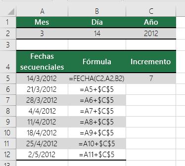 Aumentar o reducir una fecha en un número determinado de días