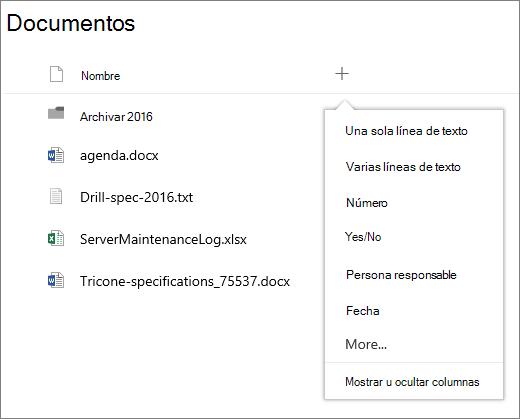 Agregar una lista desplegable de columnas en una biblioteca de documentos conectada a un grupo