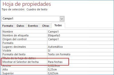 Mostrar la propiedad selector de fecha en la hoja de propiedades de un formulario