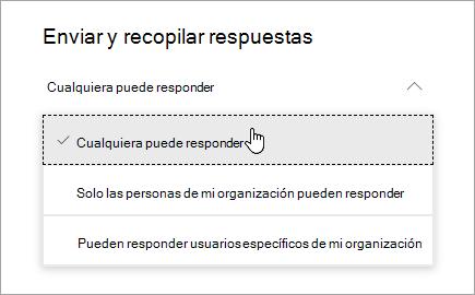 Compartir opciones en Microsoft Forms