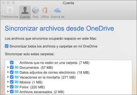 Cuadro de diálogo de carpeta de sincronización en OneDrive para Mac