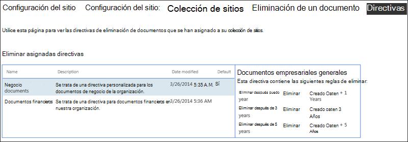 Directivas de eliminación de documentos asignadas a una colección de sitios