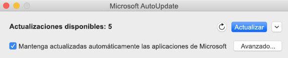 Ventana de Microsoft AutoUpdate cuando hay actualizaciones disponibles.