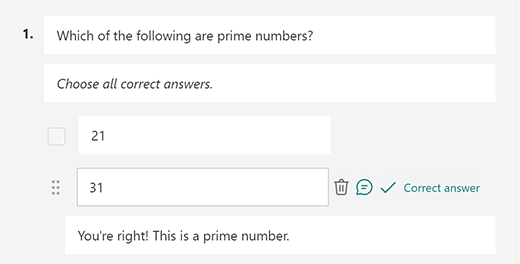 Mensaje de respuesta correcto personalizado en Microsoft Forms