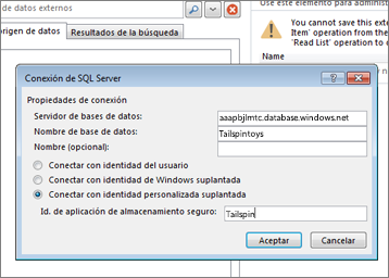 Captura de pantalla en la que aparece el cuadro de diálogo Conexión a SQL Server, donde puede escribir el nombre de su servidor de bases de datos de SQL Azure y usar la opción Conectar con identidad personalizada suplantada para escribir el id. de aplicación de almacenamiento seguro.