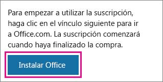 Botón Instalar Office en la página Mi cuenta de Office.