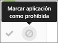 Elija la aplicación de marcar como icono prohibido