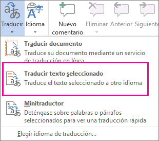 Traducir el texto seleccionado