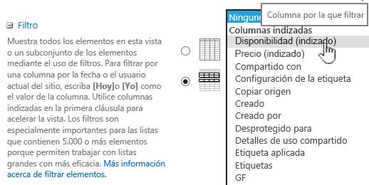 En SharePoint Online, seleccione un campo indexado