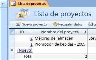La plantilla de la base de datos Proyectos