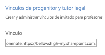 """Hipervínculo """"Vínculos para padres y tutores"""" en Administrar blocs de notas."""
