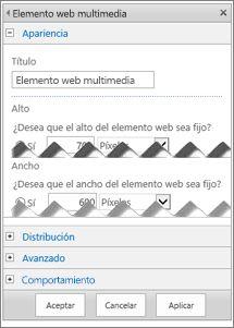 Captura de pantalla del panel de edición de un elemento web multimedia, que muestra algunas de las propiedades que se pueden configurar