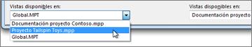 Selección de un archivo de proyecto de destino en el Organizador de Project.