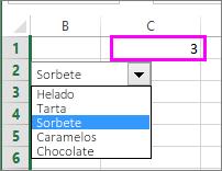 La celda vinculada muestra el número de elemento cuando se selecciona este.